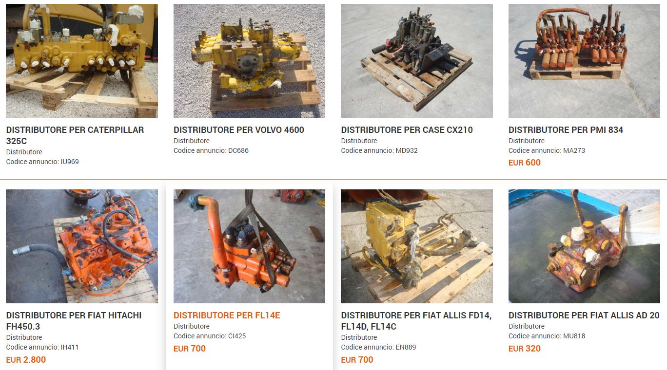 Distributori idraulici usati per escavatori e pale